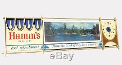 Vtg Hamm's Beer Scene-O-Matic Electric Rotating Lighted Sign Clock WORKS PERFECT