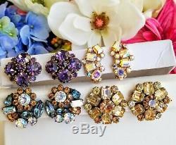Vtg High End Jewelry Earring Lot, Rhinestones, Signed Weiss, Juliana, Panetta ++