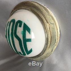 Vtg Industrial Firehouse Hose Safety Sconce Light Sign Art Deco Fixture 334-17J