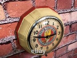 Vtg Ingraham Esso Oil Drop Old Gas Station Advertising Display Wall Clock Sign