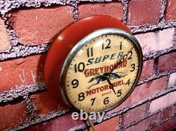 Vtg Ingraham Greyhound Oil-old Gas Station Advertising Wall Clock Sign Esso