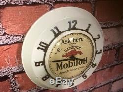 Vtg Ingraham Old Advertising Mobil Oil Gargoyle Gas Station Wall Clock Sign Esso