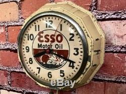 Vtg Ingraham Old Esso Oil Advertising Gas Station Display Wall Clock Sign Gulf