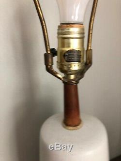 Vtg Martz Pottery Ceramic Lamp Gray Pottery Teak Wood Signed MCM Lighting