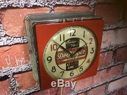 Vtg Red Chrome Deco Telechron Dr. Pepper Soda Advertising Diner-wall-clock Sign