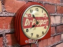 Vtg Red Deco Telechron Dr. Pepper Soda Store Advertising Diner Wall Clock Sign