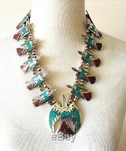 Vtg Signed 925 Turquoise Coral Squash Blossom Necklace Thunderbird Motif 167gr