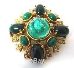Vtg Signed ART Emerald Green Gripoix Cabochon Rhinestone Seed Pearls Pin Brooch