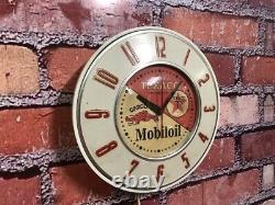 Vtg Texaco-mobil Oil Gargoyle Old Nafta Gas Station Advertising Wall Clock Sign