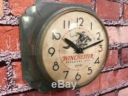 Vtg Winchester Old Metal Advertising Gun Shop Pistol Part Dealer Wall Clock Sign