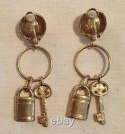 WOW! Signed Givenchy Vintage Couture Runway Earrings Lock & Key Tiny Pearls