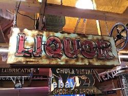 WOW! Vintage LIQUOR Double Sided NEON SIGN Antique PATINA Pub BAR Mancave TAVERN
