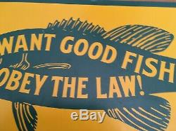 Want Good Fishing Obey Law Tin Sign Commonwealth of Pennsylvania Vintage