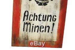 Wehrmacht Holzschild Achtung Minen vintage road sign Holz Schild 60cm x 40cm
